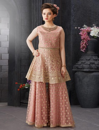Dusty pink hue wedding net fabric punjabi sharara suit