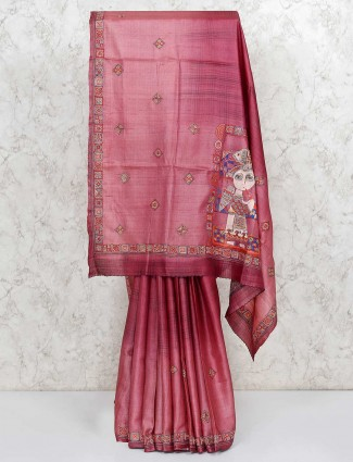 Dusty pink tussar silk wedding saree