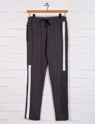 Dxi grey solid track pant in cotton