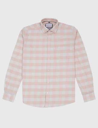 Easies beige hued checks full sleeves shirt