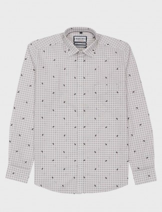 Easies light grey checks slim fit shirt