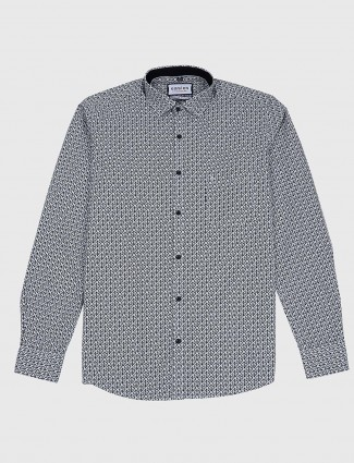 Easies slim fit grey printed casual shirt