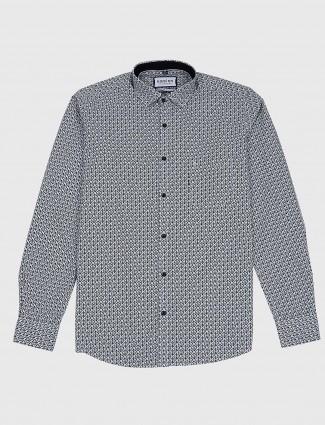 Easies slim fit grey printed casual shirt