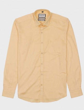 Easies solid lemon yellow cotton fabric shirts for men