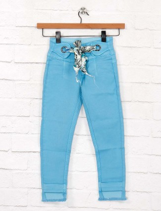 EBONY casual wear solid aqua jeans