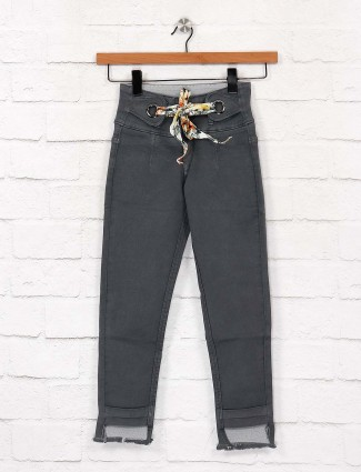 EBONY denim fabric greu hue solid jeans