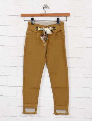 EBONY girls khaki hue denim casual jeans