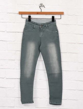 EBONY mint green washed effect jeans