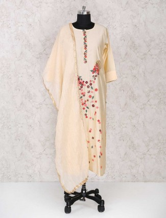 Elegant beigeround neck sharara suit