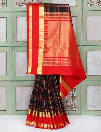 Elegant black and red color wedding wear saree