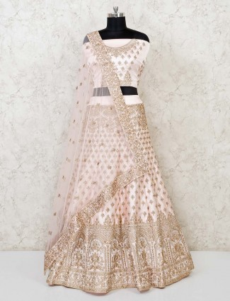 Elegant cream semi stitched lehenga choli for bridal