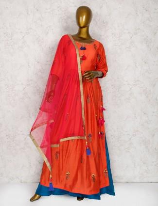 Elegant orange raw silk sharara suit