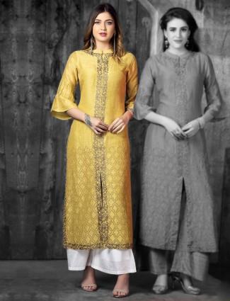 Elegant yellow cotton silk kurti