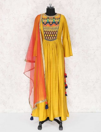 Elegant yellow cotton silk palazzo suit