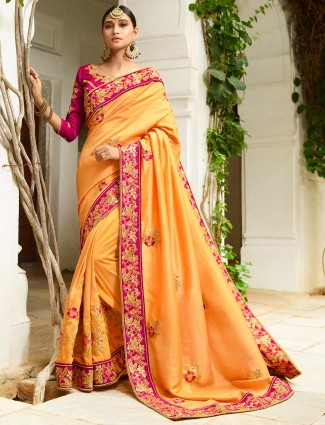 Elegant yellow semi silk wedding saree