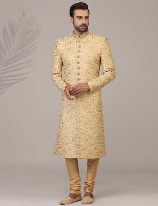 Embellished gold silk sherwani set