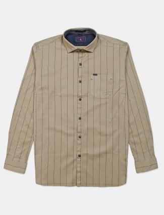 Eqiq beige stripe cotton shirt