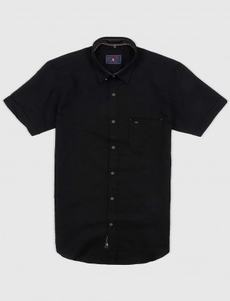EQIQ black colored solid cotton shirt