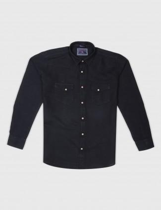 EQIQ black hue slim fit shirt