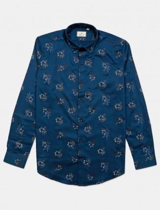 Eqiq blue printed cotton shirt casual wear