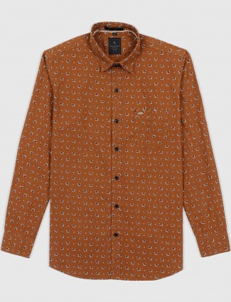 EQIQ brown printed slim fit shirt