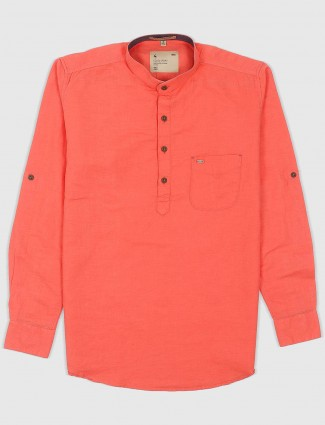 EQIQ casual orange hue cotton shirt