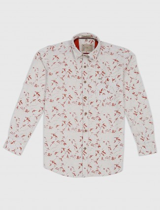 EQIQ cream printed cotton fabric shirt
