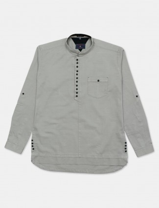 Eqiq grey solid full sleeve shirt