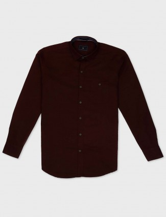 EQIQ maroon hue cotton shirt