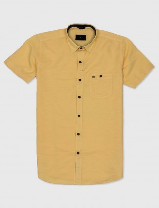 EQIQ mustard yellow hue cotton shirt