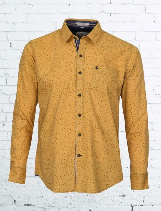 EQIQ mustard yellow man shirt