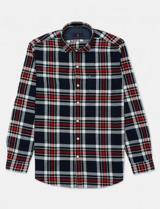 Eqiq navy and red checks pattern casual shirt