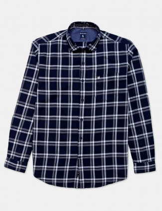 Eqiq navy checks casual shirt for mens