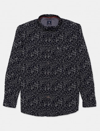 Eqiq navy printed casual shirt in cotton