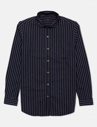 Eqiq navy stripe cotton slim fit shirt