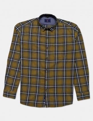 Eqiq olive checks shirt in cotton