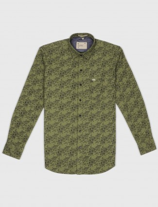 EQIQ olive color printed pattern shirt