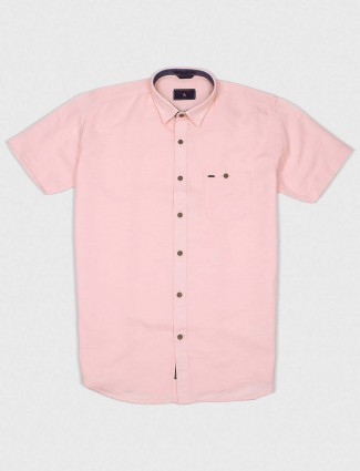 EQIQ peach colored cotton solid shirt
