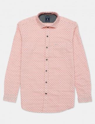 Eqiq pink printed cotton casual shirt