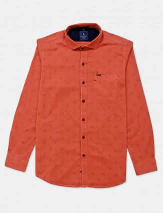 Eqiq printed orange casual shirt