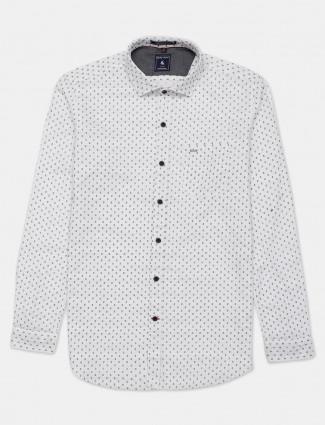 Eqiq printed style white cotton shirt