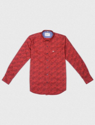 EQIQ red hue printed pattern shirt