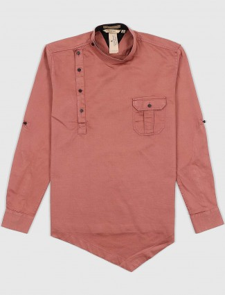 EQIQ rose pink solid casual wear shirt