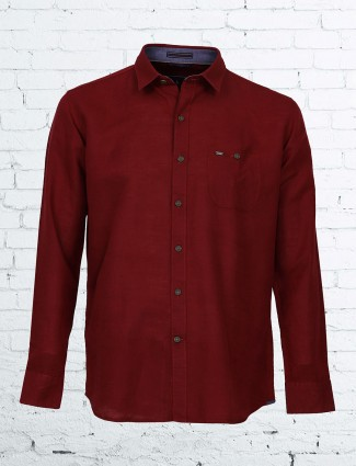 EQIQ simple maroon color shirt