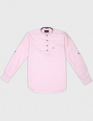 EQIQ solid pink slim fit shirt