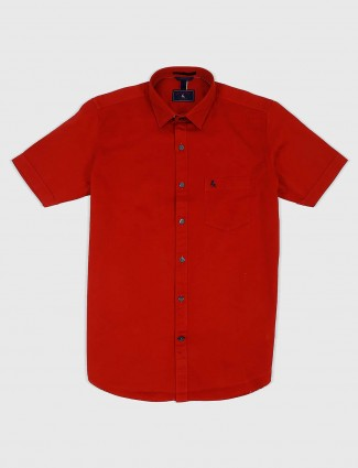 EQIQ solid red hued cotton shirt