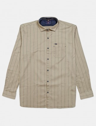 Eqiq stripe beige slim fit mens shirt