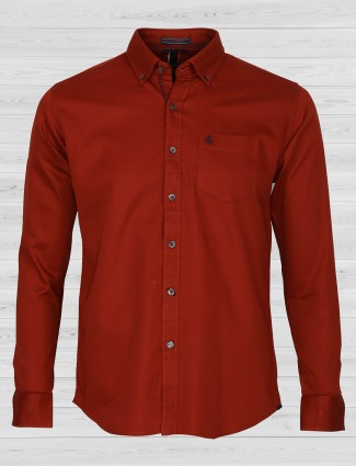 EQIQ wine maroon cotton shirt