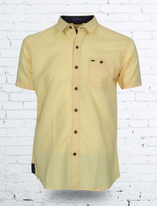 EQIQ yellow color solid shirt