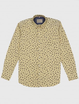 EQIQ yellow hue printed mens shirt